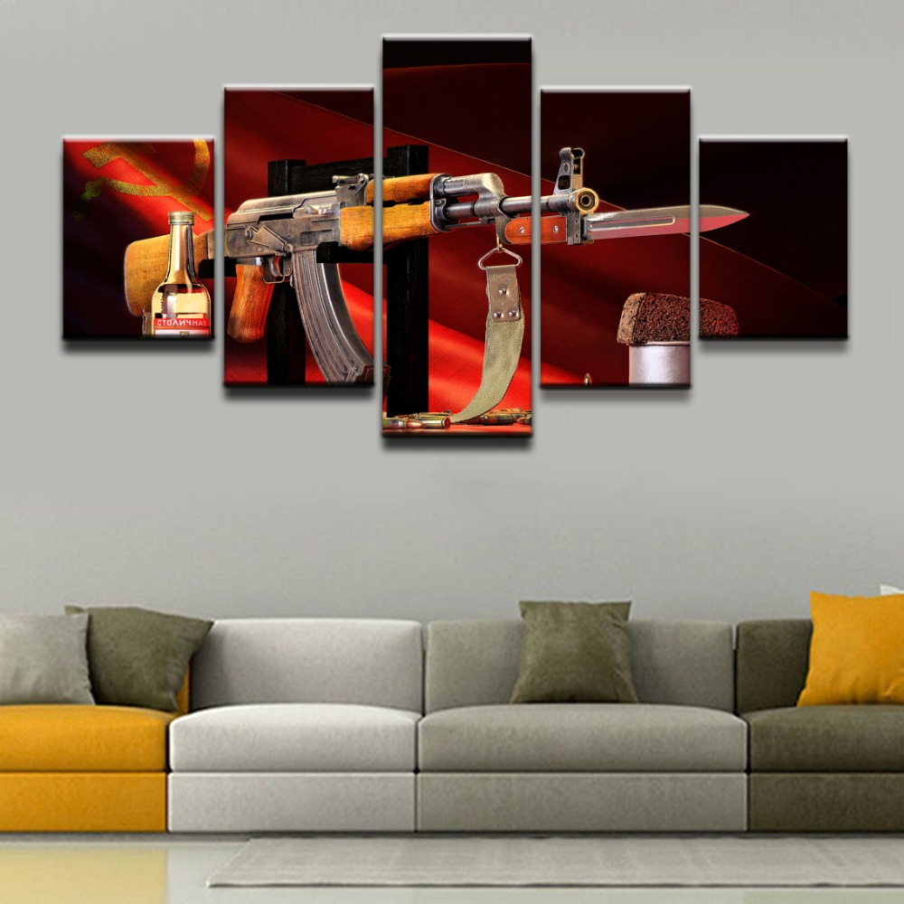 5 Pieces Weapons AK 47 Canvas Painting Picture Poster Wall