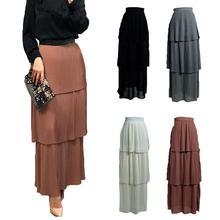 Dress Skirts Islamic-Bottoms Muslim Fashion Arab Maxi Pleated Elastic Tiered Straight