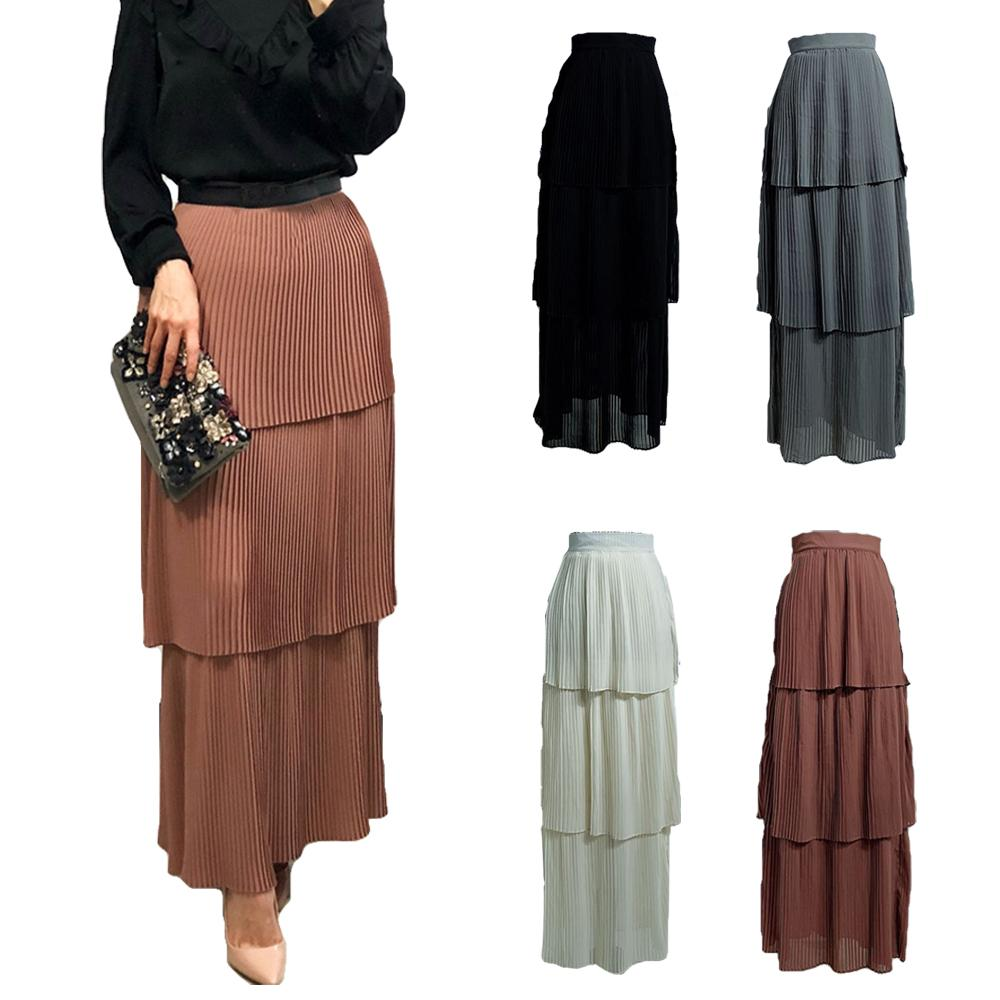 Fashion Women Tiered Long Skirt Muslim High Waist Elastic Maxi Skirts Dress Islamic Bottoms Pleated Straight Skirts Arab Casual
