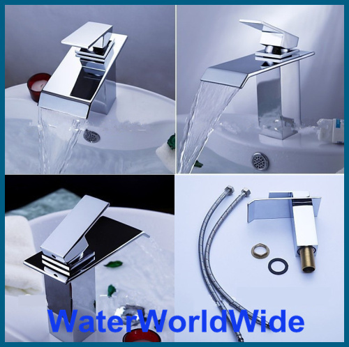 цена на Waterfall Bathroom Basin Mixer Tap Chrome Bath Basin Faucet Sink Faucet Vessel Mixer Brass Tap