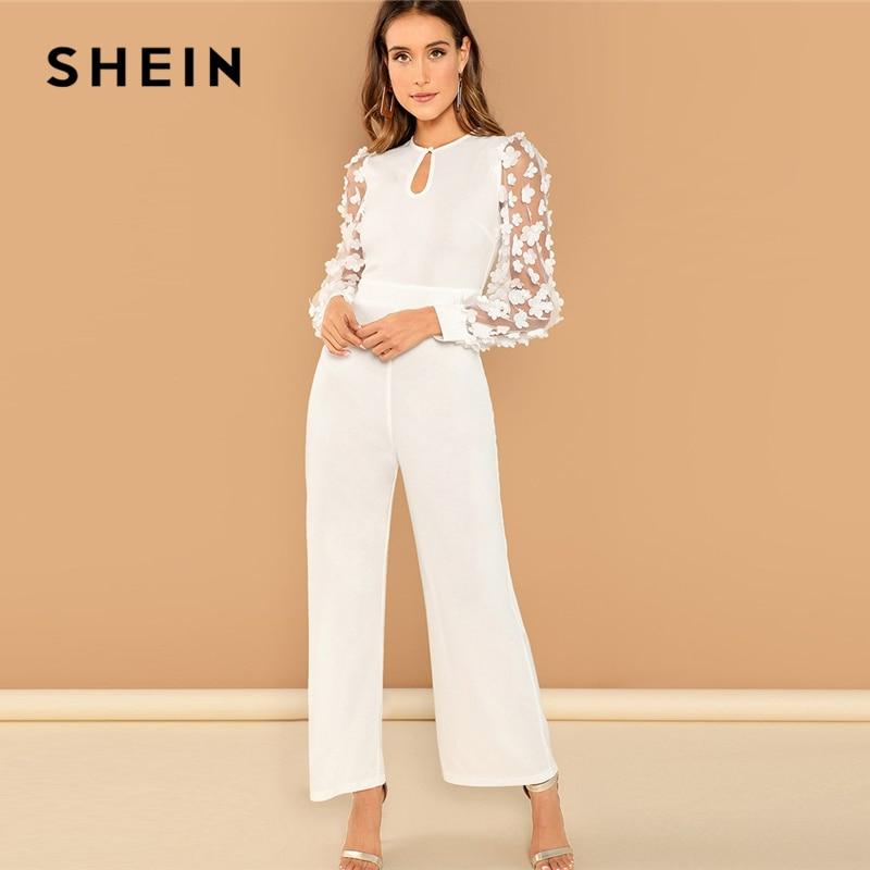 d317609c227 SHEIN White Elegant 3D Applique Sheer Sleeve Keyhole Front Jumpsuit Women  Autumn Zipper Button Wide Leg Maxi Culottes Jumpsuits