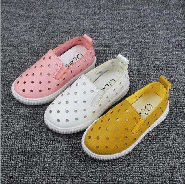 2016 New Summer Children PU Leather Shoes for Boys Girls Casual Hollow Out Bowknot Kids Sport Girls Princess Shoes F124