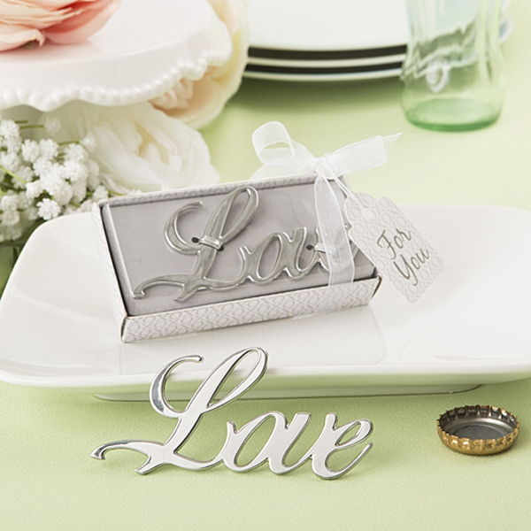80pcslot new arrival elegant wedding gifts silver love shaped bottle opener bridal shower favors