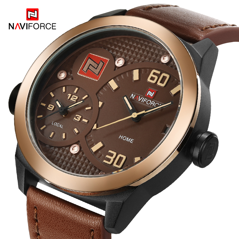 NAVIFORCE Men's Fashion Luxury Top Brand Sports Watches Dual Time Quartz Watches Leather Band Watch Clock Male Relogio Masculino new listing men watch luxury brand watches quartz clock fashion leather belts watch cheap sports wristwatch relogio male gift