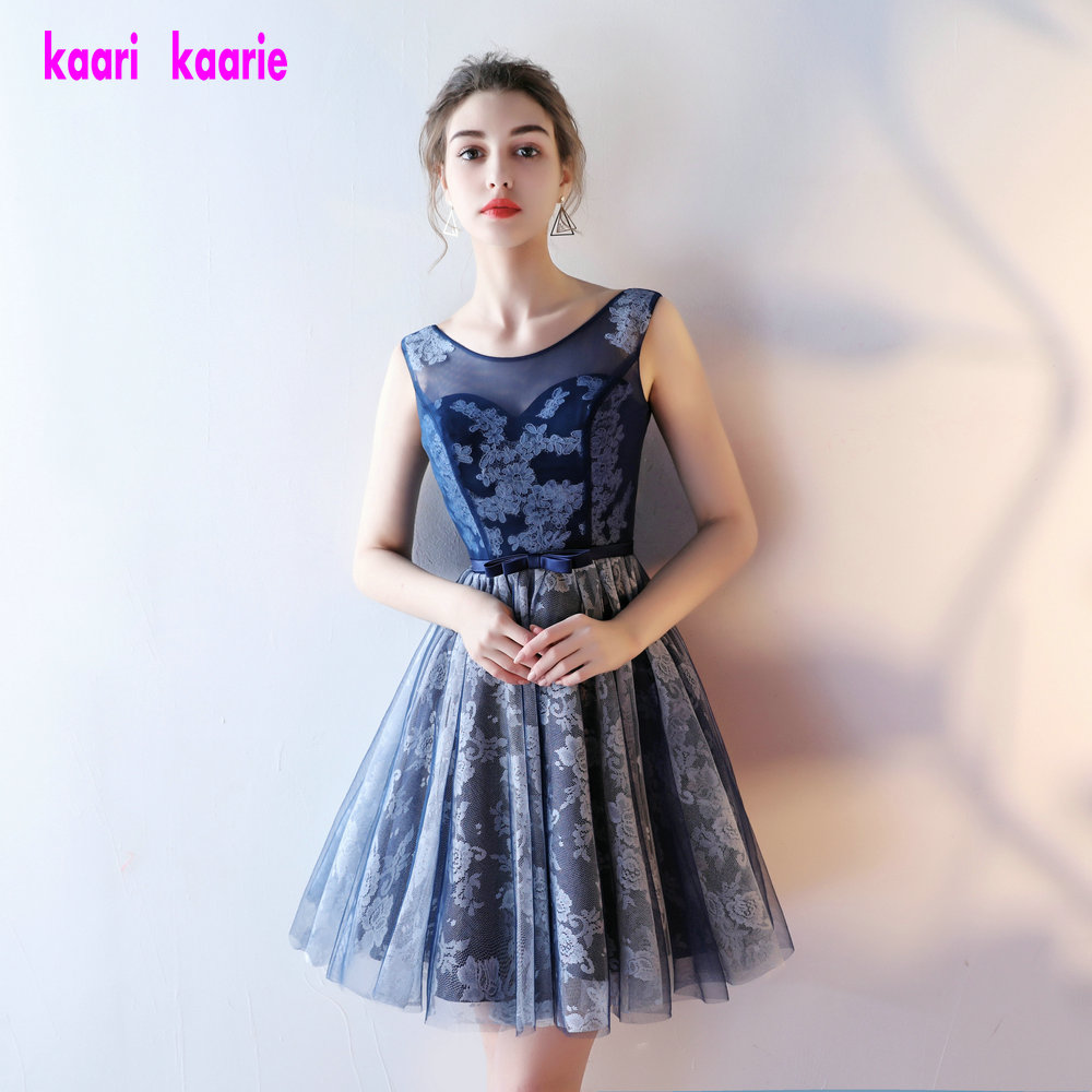 Fashion Dark Navy Lace   Prom   Gown 2019 New Sexy Scoop Sleeveless Tulle Lady   Prom   Party   Dress   Short Club   Prom     Dresses   Custom Made
