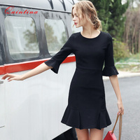 Quintina New Fashion OL Office Dress Lady Summer Dress Short Sleeve Mini Dress Vintage Women Dress