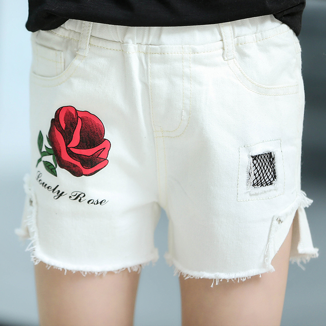 Aliexpress.com : Buy Fashion Cheap Girls White Denim Shorts Rose ...