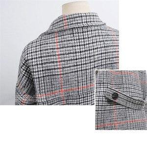 Image 5 - Hodisytian Cardigan Long et épais, mélange de laine à carreaux pour femmes, manteau en cachemire, grande taille 4XL, mode hiver décontracté coton