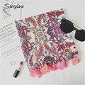 2017new moda red small Floral Impresa de Las Mujeres Bufanda de la borla de la primavera señoras estolas de vacaciones en la Playa, chales, bufandas de algodón D116