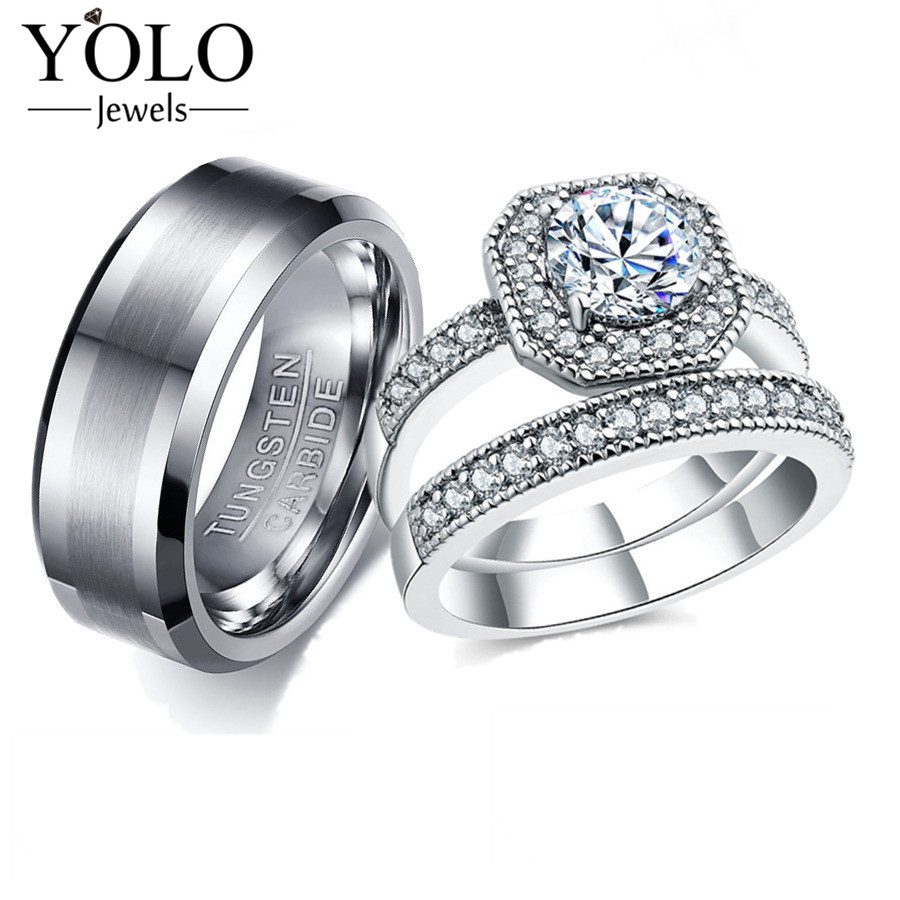 YOLO Jewels Couple Rings Cubic Zirconia Bridal Rings Set for Women Tungsten Ring for Men Suitable for Wedding and Engagement tl unique engagement wedding ring set women s pair rings stainless steel double ring set for women bridal with large rhinestone