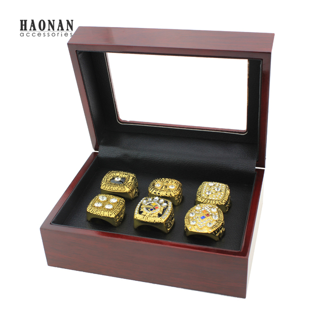 6pcs/set drop shipping 1974 1975 1978 1979 2005 2008 Pittsburgh Steelers championship rings replica with exquisite box