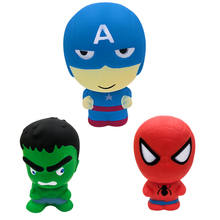 цена на Super Hero Squishy Slow Rising Toy Iron Man Spiderman Antistress Squishes Toy Jumbo Squeeze Stress Relief Toys For kid Adult