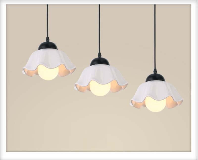 BOKT Modern Pendant Lamp White Loft Nordic E27 ceramic Lampshade Bar Restaurant Lamp Industrial Pendant Lamp 3 head or 4 head in Pendant Lights from Lights Lighting