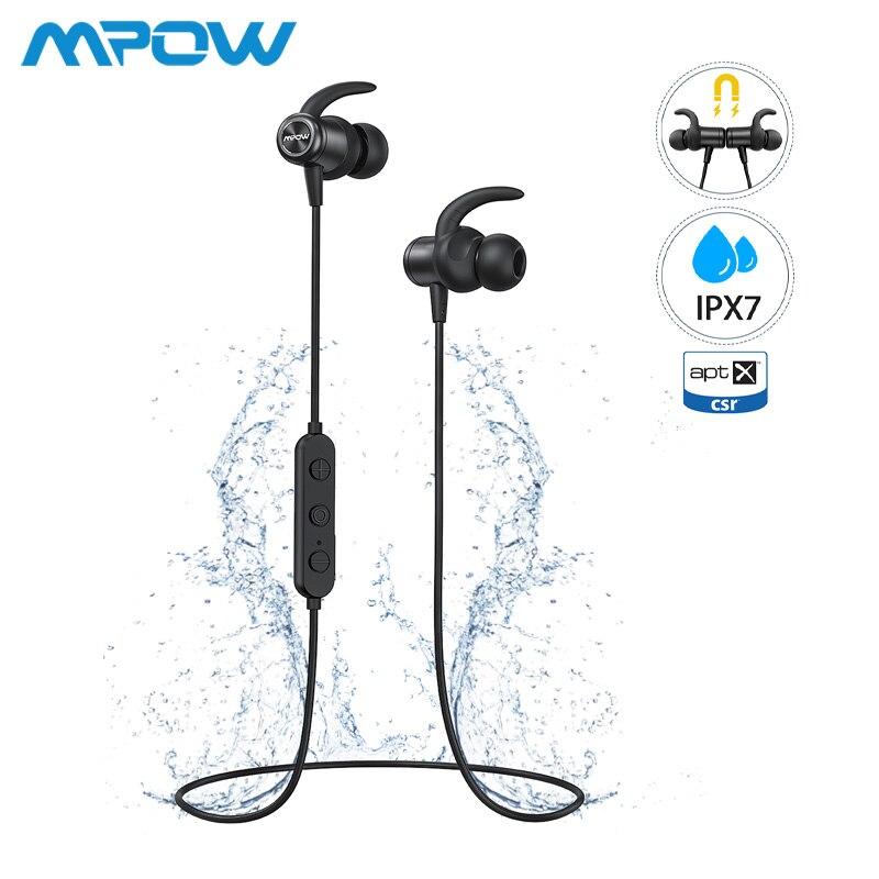 Mpow S11 ipx7 étanche APTX écouteurs Bluetooth 5.0 sport écouteurs conception magnétique 9H jouer pour iPhone Samsung Huawei Xiaomi