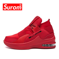 SUROM Luxury Brand Men Red Sneakers Summer Breathable Leather Basketball Shoes Sport Outdoor Athletic Basketball Shoes Men Air