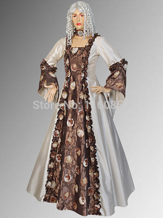 Renaissance Gothic or Medieval Gown German Dress style Costume Handmade Cream with Brown and Multiple Colors Available