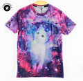 2015 New Fashion Men/Women Novelty T-shirt 3D Space Galaxy Cat Print Short Sleeve Top Tees Summer Wear Tshirts