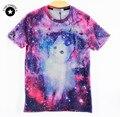 2015 nuevos hombres de la manera/de las mujeres camiseta de la novedad 3d espacio galaxy cat imprimir manga corta top tees desgaste del verano camisetas