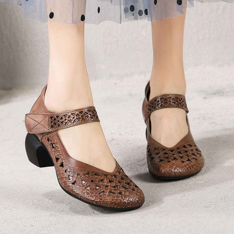 2019 Spring Summer Vintage Women Shoes Pumps Round Toes Cut Out Handmade Genuine Leather Ladies Shoes