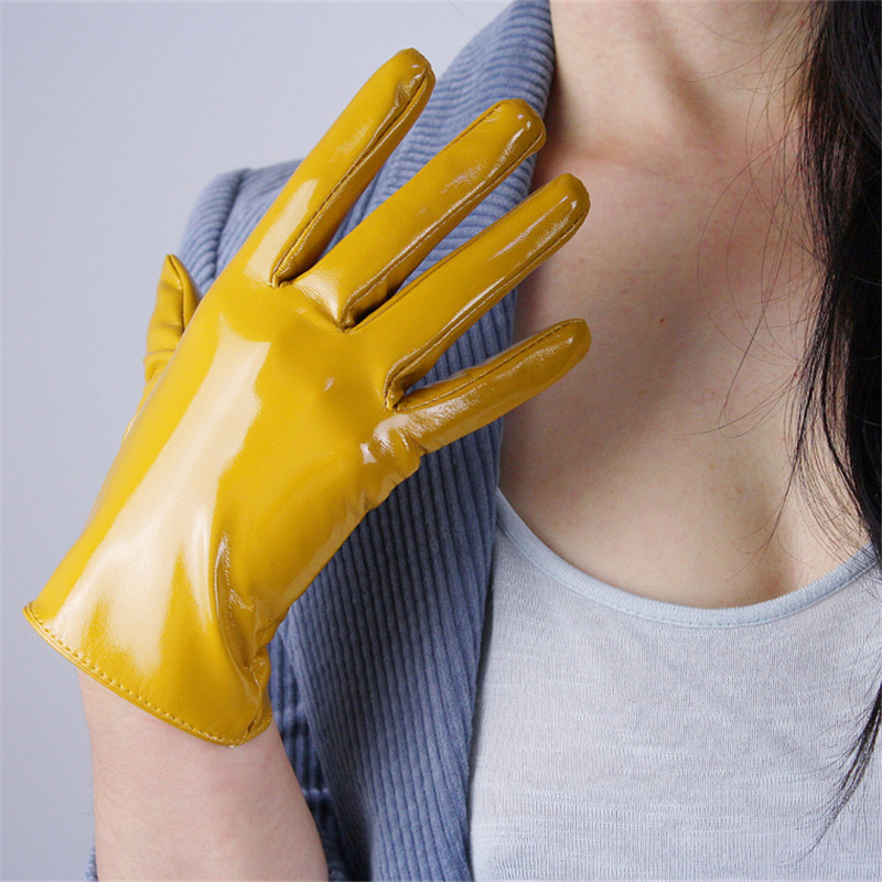 21cm Patent Leather Gloves Short Section Emulation Leather PU Mirror Beige Nude Bright Yellow Ginger Yellow Egg Yolk WPU124