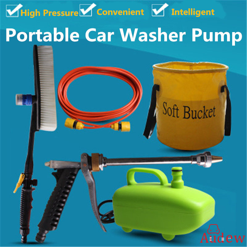 все цены на 60W 12V 5PCs Car Washer Submersible Portable High Pressure Car Washing Pump Device New Household Electric Convenient Car Washer
