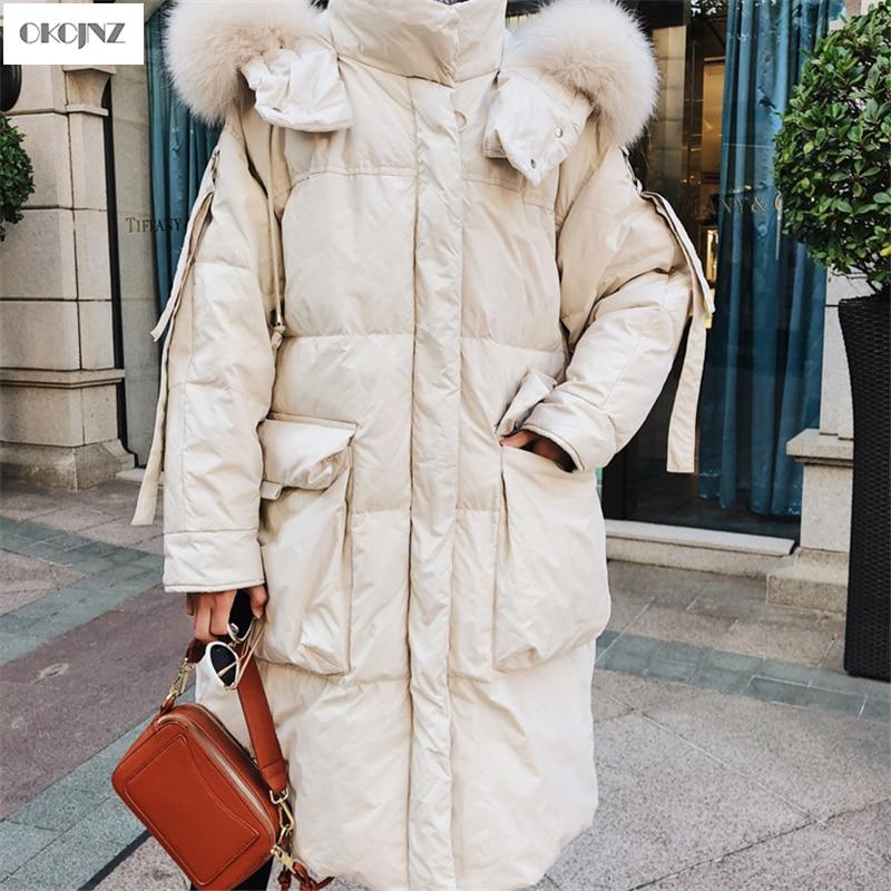 Pain Des Épais Col D'hiver Creamy White De Vêtements Coton Militaire Grand Jacket Lâche Yy152 Nouveau En Long Fourrure Manteau Mode Femmes BvwxqxOdz