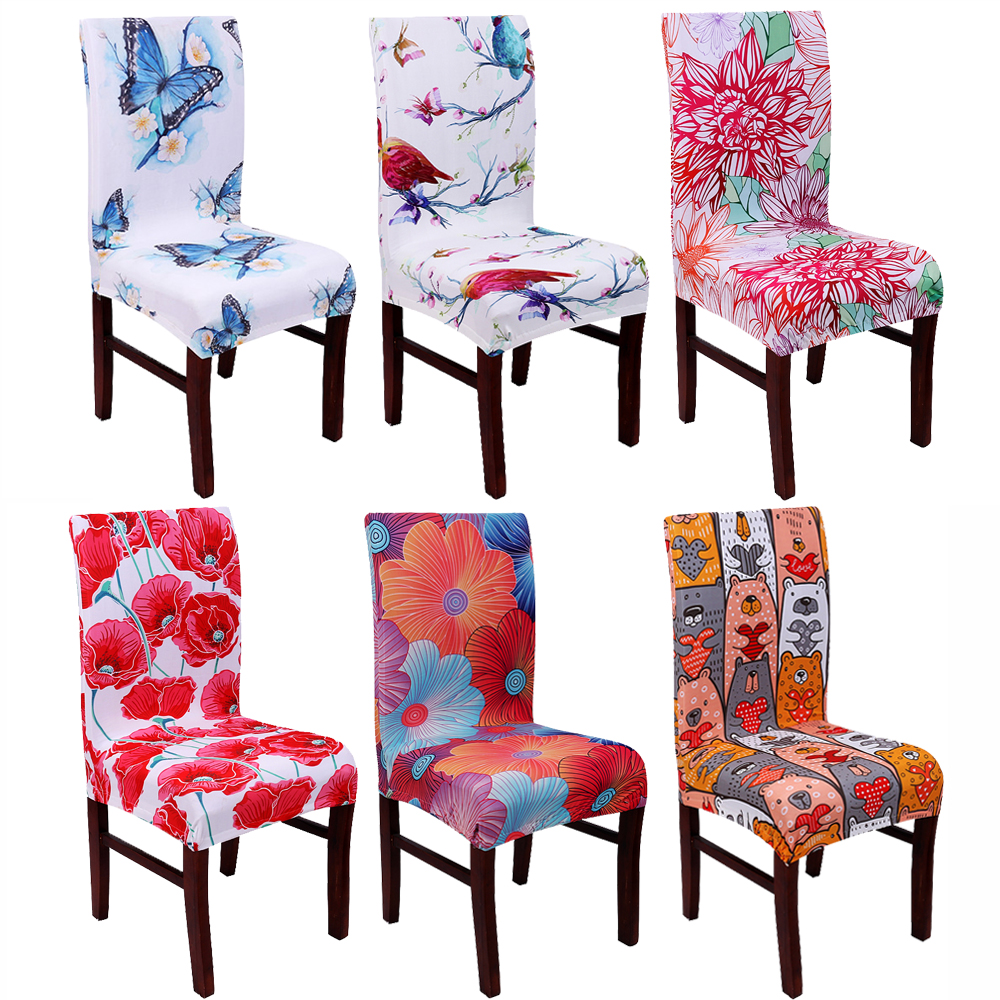 Living Room Chair Covers: Spandex Elastic Dining Chair Cover With Back Universal
