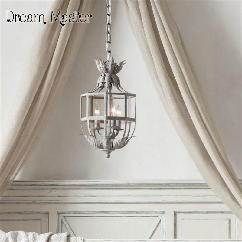 French Princess Room Flower Chandelier American style iron art vintage lantern bedroom entrance hallway study lamp korean princess wrought lamp iron bedroom led lamp american pastoral style living room children chandelier
