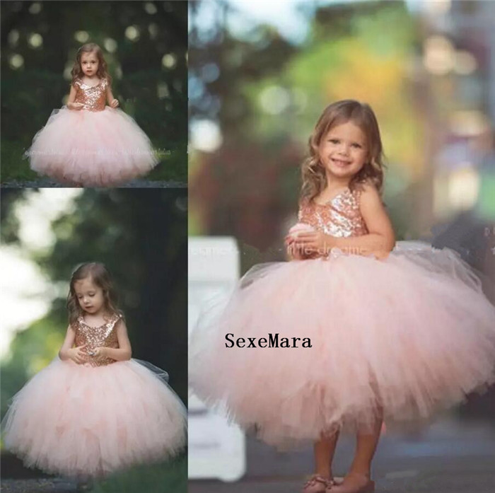 Rose Gold Sequins Flower Girls Dresses 2018 Puffy Little Toddler Infant Wedding Party Dress Baby Girls Birthday Dress