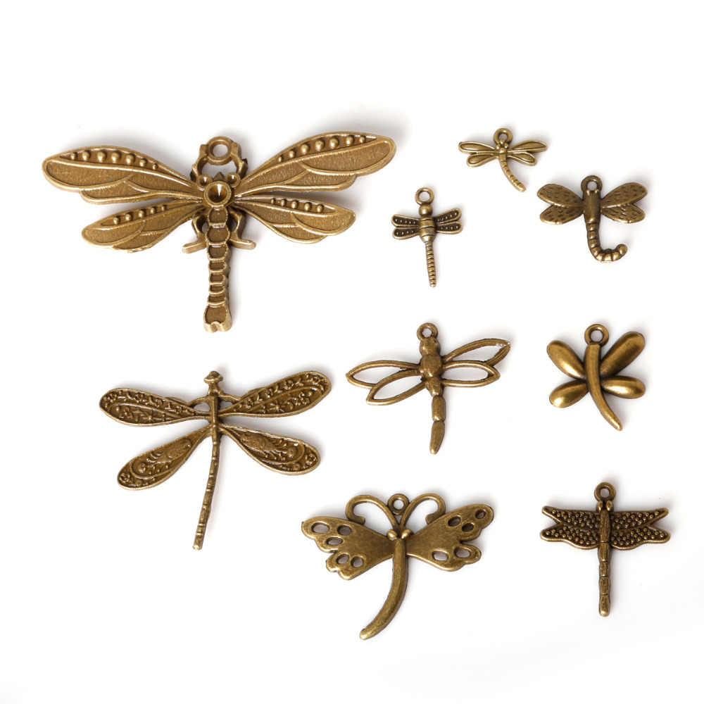 Nowy przyjazd! 61 sztuk Antique Bronze Plated mieszane stylu Dragonfly zawieszki Charms Fit bransoletki naszyjnik DIY metalowe komponenty do biżuterii