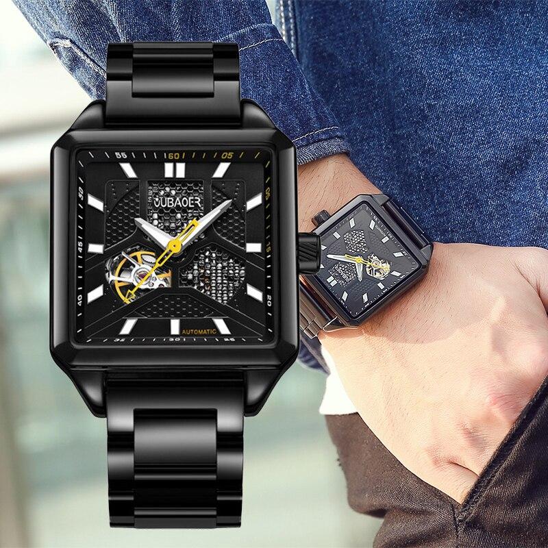OUBAOER Automatic Mechanical Watch Men Hodinky XFCS Luxury Steel Rectangle Men Wrist Watches Skeleton Relogio Masculino