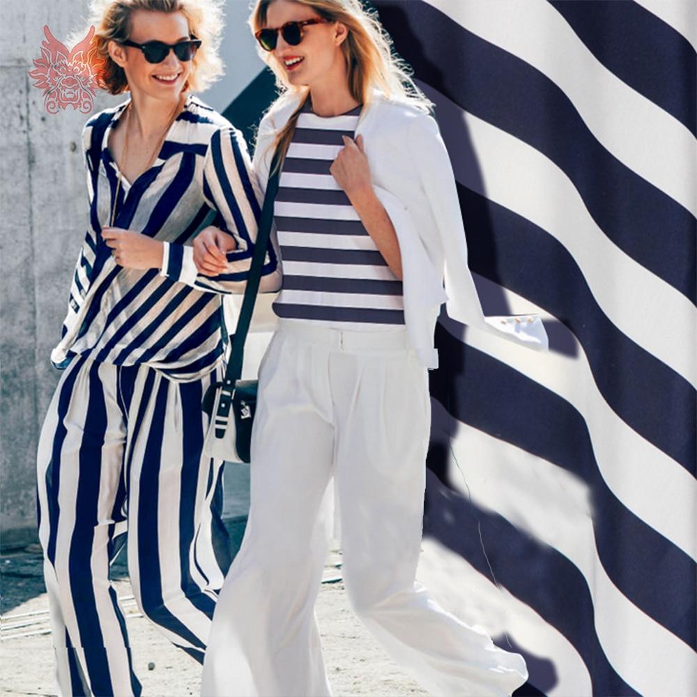 White navy blue stripe print 100 silk crepe de chine fabric for dress tissu yarn tela