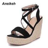 c61e71b91a1 ... plataforma cuña tacón alto 2019 Lino paja cuerda tejido zapatos verano  mujeres. Aneikeh Ladies Sandals Fashion Cross Strappy Wedge Platform High  Heels ...