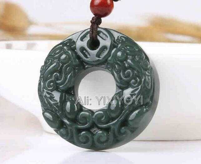 Beautiful Natural Green HeTian Jade Carved Chinese Double PiXiu Buckle Lucky Pendant + Rope Necklace Certificate Fine Jewelry