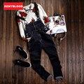 2016 Autum New Arrival Mens Esticado Denim Jeans Reta Magros Macacão Jeans Stonewashed SuspenPants Babadores Para Bebês do Sexo Masculino para Homens 272
