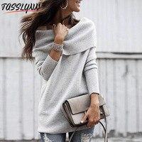 TASSLYNN 2018 European and American Autumn Winter One shoulder Strapless Sexy Slim Sweater Skirt Knitted Sweater Women One SIZE