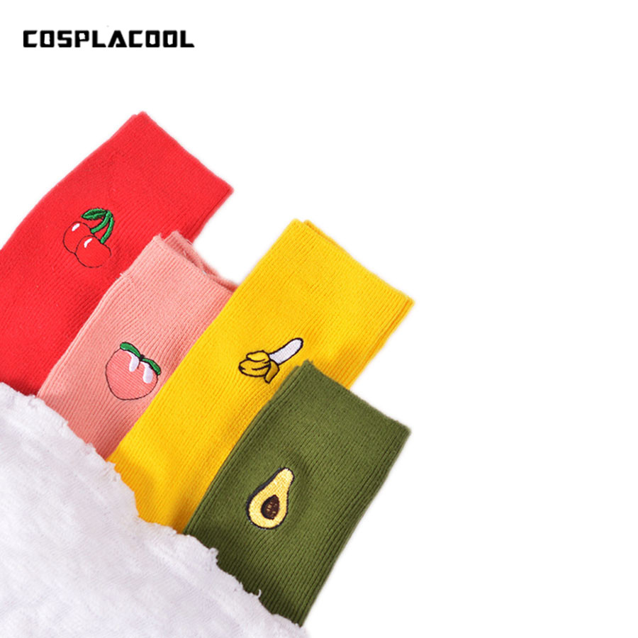 Cute Cartoon Fruit Print Avocado Banana Cherry Peach Girls Kawaii   Socks   meias Korean Harajuku Embroidery Pile Heap Funny   Socks