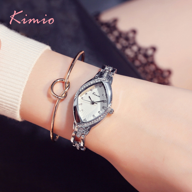 Kimio Brand Luxury Ladies Watch Fine Crystal Dial Women Angel Eyes Bracelet Watches Stainless Steel Clock gift with box 2017 fashion brand kimio luxury quartz watch ladies watch women gold rhinestone bracelet waterproof watches with gift box