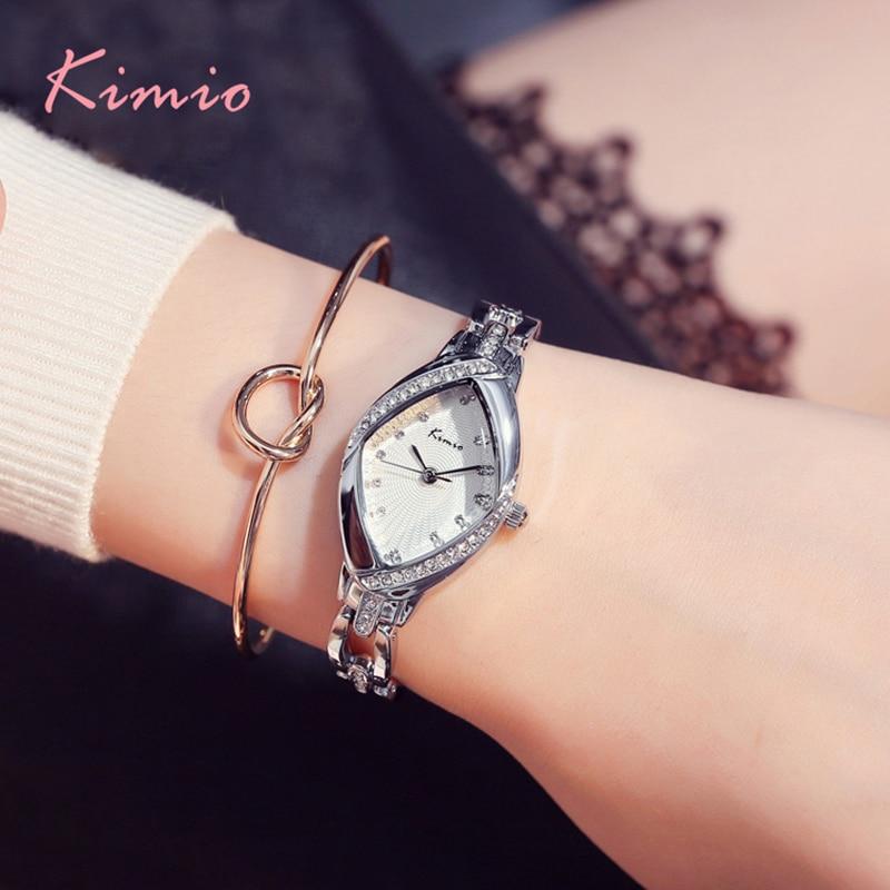 Us 1406 33 Offkimio Marke Luxus Damenuhr Feinen Kristall Raute Zifferblatt Frauen Angel Eyes Armband Uhren Edelstahl Uhr Geschenk Mit Box In