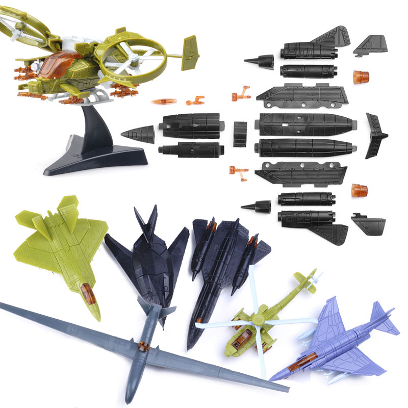 5Pcs No-repeat Mini Assemble Aircraft <font><b>Building</b></font> Blocks Toy for Children Fighter F-35 Military <font><b>Model</b></font> <font><b>Kits</b></font> Educational Toys Random image