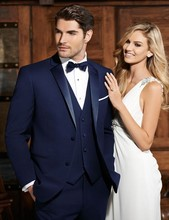 Custom Made Groomsmen Notch Satin Lapel Groom Tuxedos Navy Blue Men Suits Wedding Best Man Blazer (Jacket+Pants+Tie+Vest) B945