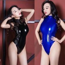 Black Bodysuits Babydoll Glitter-Overalls Wetlook Swimwear Pole-Dance Faux-Leather Sexy