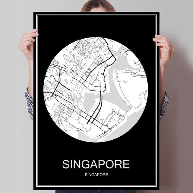 Hitam Putih Peta Kota Dari Singapura Cetak Poster Mencetak Pada