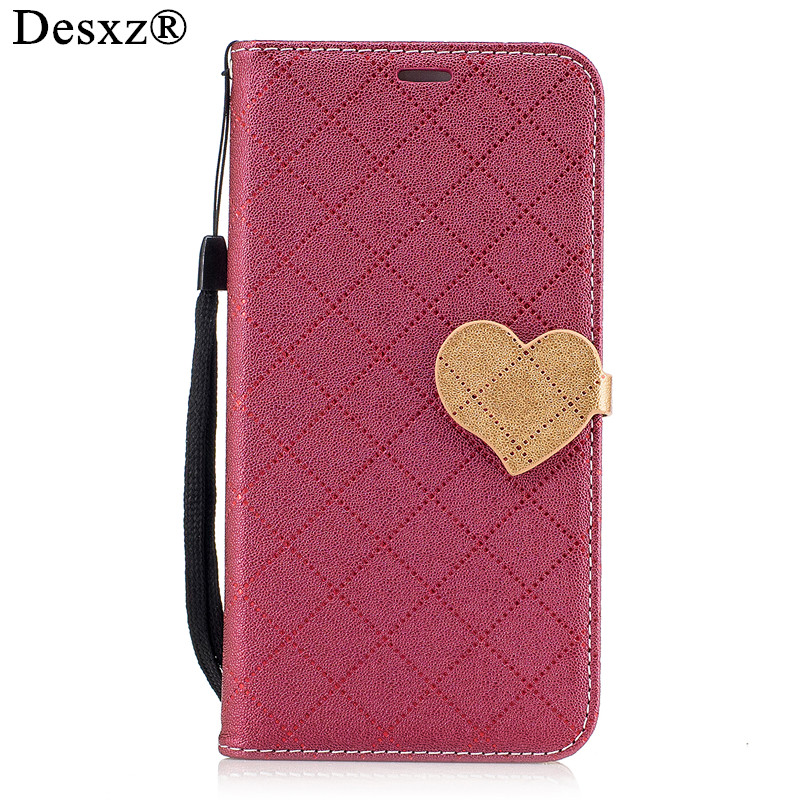 Desxz for Huawei P8 Lite 2017 Case Silicon PU Leather Wallet With Card phone shell for p8lite 2017 Hit color Lovely Heart cases