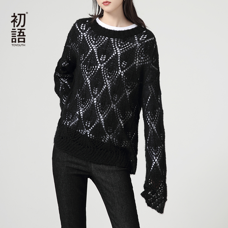 Toyouth Autumn New Hollow Out Long Sleeve O Neck Knitted Pullover Korean Style Women Casual Sweater
