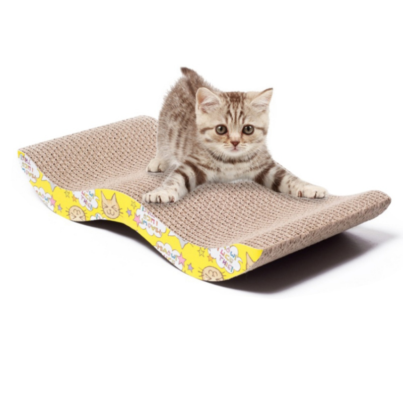 New Pet Cat Kitten Corrugated Scratch Board Pad Scratcher Bed Mat Claws Care Interactive Toy For Cat Training Cat Toy + Catnip