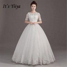 It S Yiiya O Neck Floor Length Wedding Dresses Elegant Beading Brides Gowns Lace Vestidos