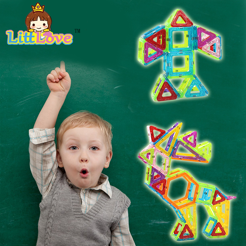 LittLove Big Size 70Pcs Magnetic Building Blocks Whirligig Designer Enlighten Bricks Magnetic Toys For Children Best Gifts
