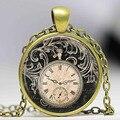 Free shipping Vintage Clock Necklace Round clock pocket watch pendant Art photo Pendant Glass Dome Clock Pendant jewellery