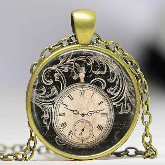 Free shipping vintage clock necklace round clock pocket watch free shipping vintage clock necklace round clock pocket watch pendant art photo pendant glass dome clock aloadofball Image collections